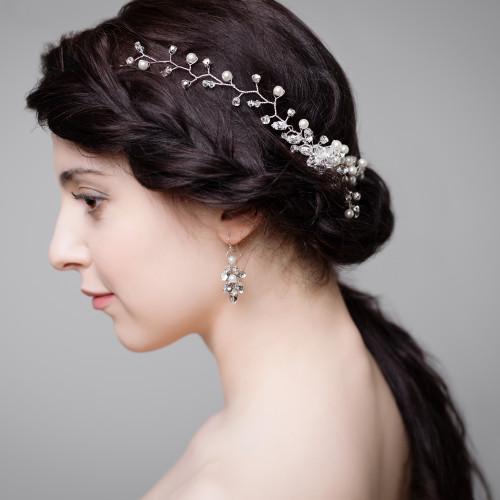 U0026#39;Adriannau0026#39; Crystal And Pearl Trail Hair Comb | Handmade Bridal Hair Accessories | Lily Luna ...
