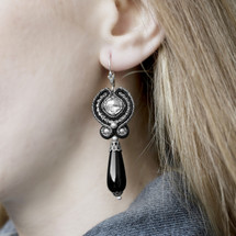 Hand Embroidered Black Silver Swarovski Crystal Earrings