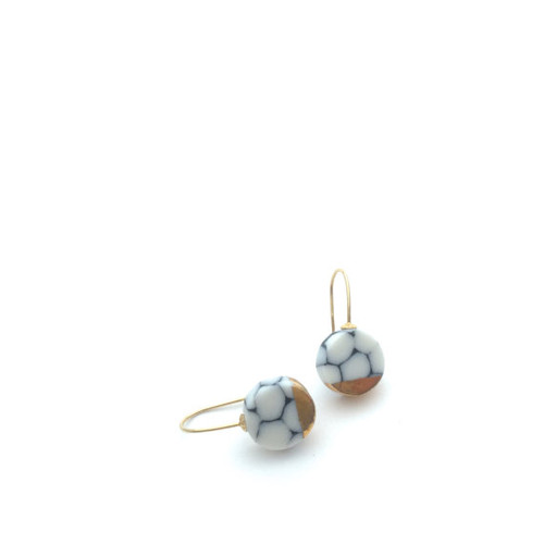 Minimalist Black, White and Gold Porcelain Earrings