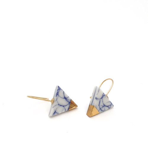 Blue, White and Gold Dipped Triangle Earrings