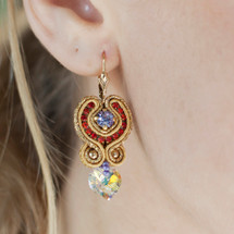 Hand Embroidered Red and Gold, Heart Crystal Earrings