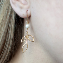 Arte Nobile - Gold Plated Sterling Silver Leafy Drop Earrings
