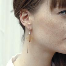 Rose Gold Nude 'Deliee' Vert d'eau 4 Long Knot Earrings