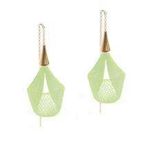 VLUM - Pétale Bright Green Threader Earrings