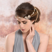 Handmade with 188 lustrous freshwater pearls , A+ grade crystals, diamante stones finished on anti- tarnishing soft gold wires with detachable champagne gold double satin ribbon
