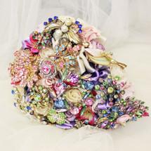 Vibrant Pink and Purple Shower Vintage Brooch Bouquet Bridal Brooch Bouquet (Sample SALE)