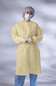 Isolation Gown with Elastic Wrists Color: Yellow Size: Universal Qty: 10 per Box