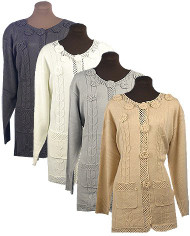 Ladies Fancy Jacket Sweater (Camel, 1X)