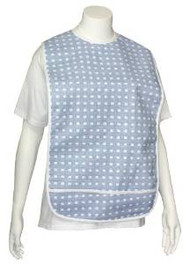 Adult Vinyl Adult Bibs with Crumb Catcher - Blue With White Boxes - 3 Pack