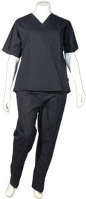 Crest Unisex Scrub Uniform Set - Pack of 3 Sets - Black (Small-Regular)