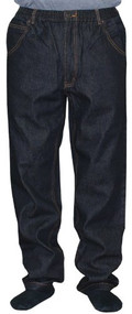 100% Cotton 5 Pocket Full Elastic Jeans - Black (Inseam 31-32 / Waist 42)