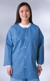 Medline Antistatic Classic Lab Jackets - Blue, Latex-Free - XX-Large - Qty of...