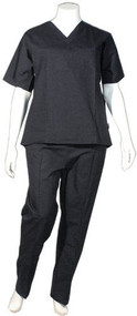 Crest Unisex Scrub Uniform Set - Pack of 3 Sets - Black (XS-Petite)