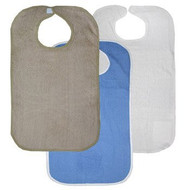 Terry Adult Bib with Velcro® Brand Neck Closure - Khaki, Royal and White (3 P...