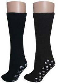 3 Pairs of Non-skid Unisex Slipper Socks (2 Black, 1 Brown) - Size 9-11