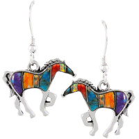 Sterling Silver Horse Earrings Multi Gemstones E1054-C00