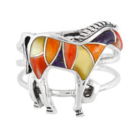 Sterling Silver Horse Ring Multi Gemstone R2018-C36