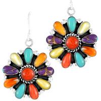 Sterling Silver Flower Earrings Multi Gemstones E1112-C71