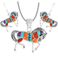 Sterling Silver Horse Pendant & Earrings Set Multi Gemstones PE4016-C30