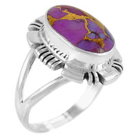 Sterling Silver Ring Purple Turquoise R2028-SM-C77