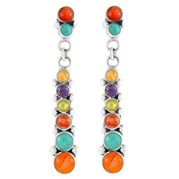 Sterling Silver Earrings Multi Gemstones E1126-C01