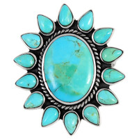 Sterling Silver Flower Ring Turquoise R2225-C75