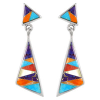 Sterling Silver Earrings Multi Gemstones E1050-C01