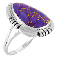 Sterling Silver Ring Purple Turquoise R2251-C77