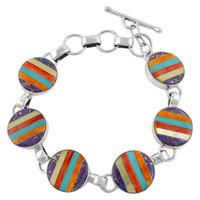 Sterling Silver Link Bracelet Multi Gemstone B5490-C01