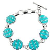 Sterling Silver Link Bracelet Turquoise B5490-C05