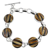 Sterling Silver Link Bracelet Multi Gemstone B5490-C33