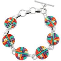 Sterling Silver Link Bracelet Multi Gemstone B5490-C51