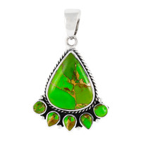 Sterling Silver Pendant Green Turquoise P3080-C76