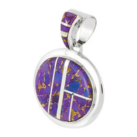 Sterling Silver Pendant Purple Turquoise P3082-LG-C07