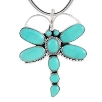 Sterling Silver Dragonfly Pendant Turquoise P3083-C75