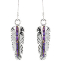 Sterling Silver Feather Earrings Purple Turquoise E1016-C57