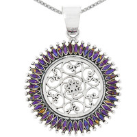 Sterling Silver Pendant Purple Turquoise P3085-C77