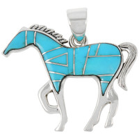 "Sterling Silver Horse 2"" Pendant Turquoise P3049-LG-C05 (Larger Size)"