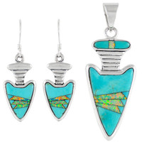 Sterling Silver Arrowhead Pendant & Earrings Set Turquoise PE4021-C21