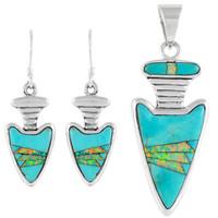 Sterling Silver Arrowhead Pendant & Earrings Set Turquoise PE4021-C21