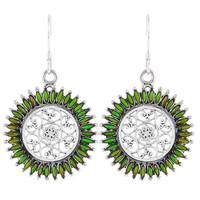 Sterling Silver Flower Earrings Green Turquoise E1138-C76