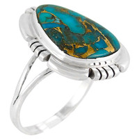 Sterling Silver Ring Matrix Turquoise R2251-C84