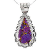 Sterling Silver Pendant Purple Turquoise P3094-C77