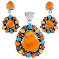 Sterling Silver Pendant & Earrings Set Multi Gemstone PE4024-C71