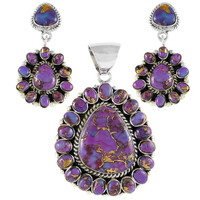 Sterling Silver Pendant & Earrings Set Purple Turquoise PE4024-C77