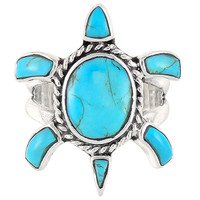 Sterling Silver Turtle Ring Turquoise R2236-C75