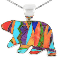 Sterling Silver Bear Pendant Multi Gemstone P3052-C00