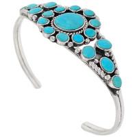 Sterling Silver Flower Bracelet Turquoise B5484-C75