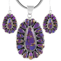 Sterling Silver Pendant & Earrings Set Purple Turquoise PE4029-C77