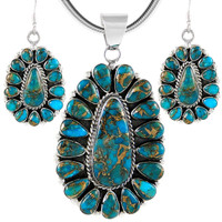 Sterling Silver Pendant & Earrings Set Matrix Turquoise PE4029-C84